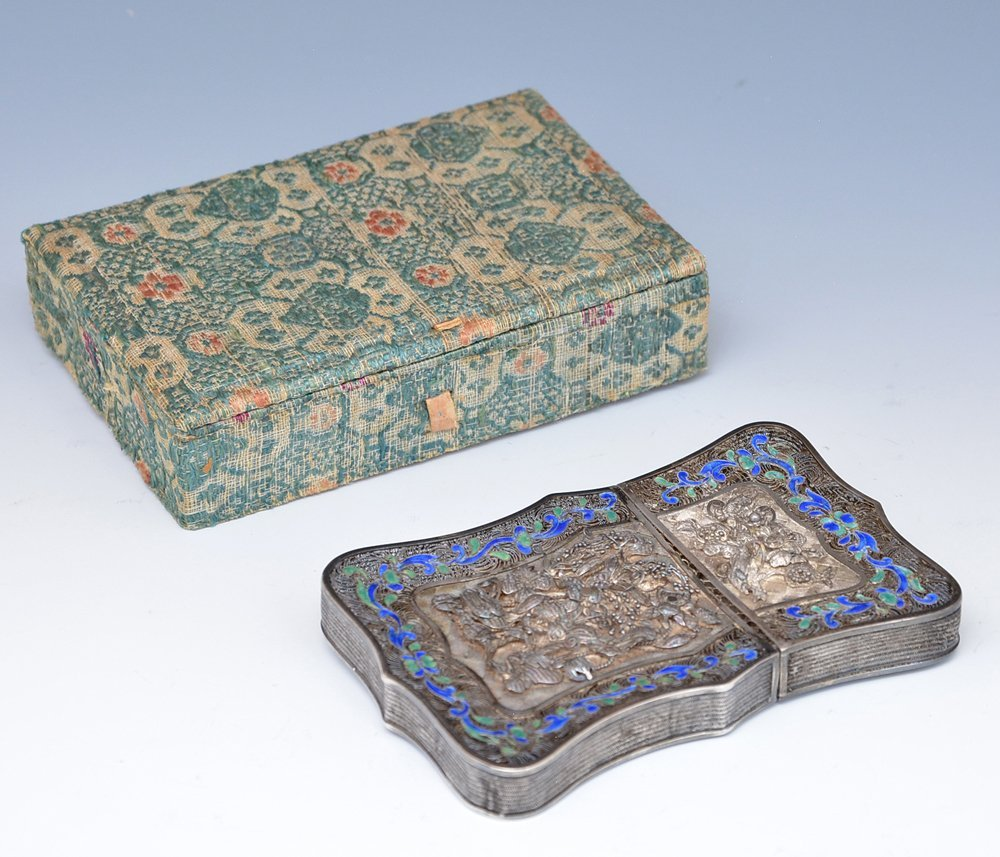 Chinese Silver filigree and enamel card case - 2