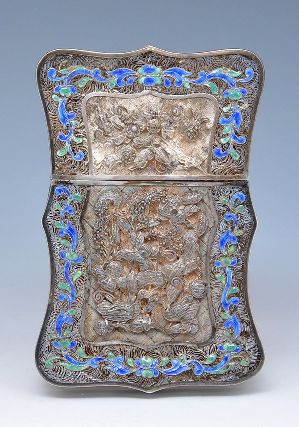 Chinese Silver filigree and enamel card case - 3