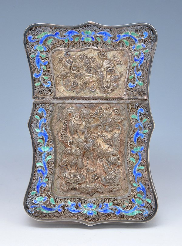 Chinese Silver filigree and enamel card case - 4