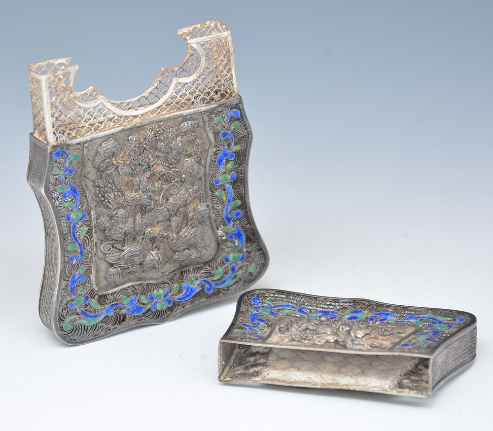 Chinese Silver filigree and enamel card case - 5