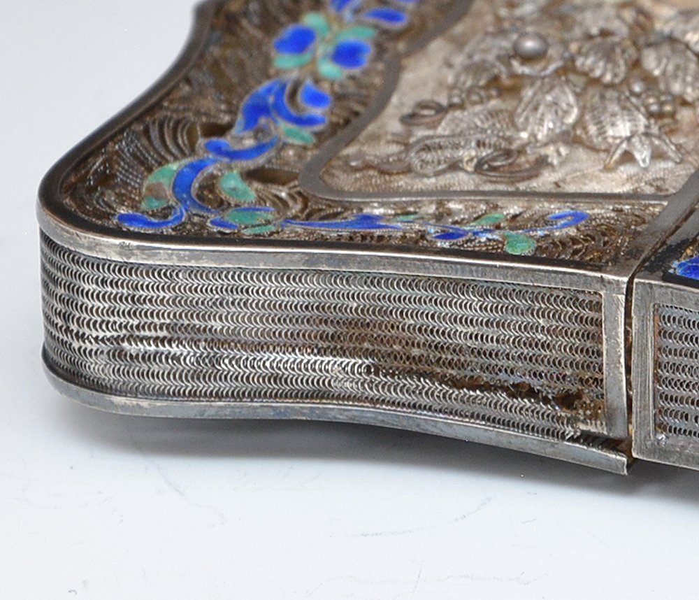Chinese Silver filigree and enamel card case - 6