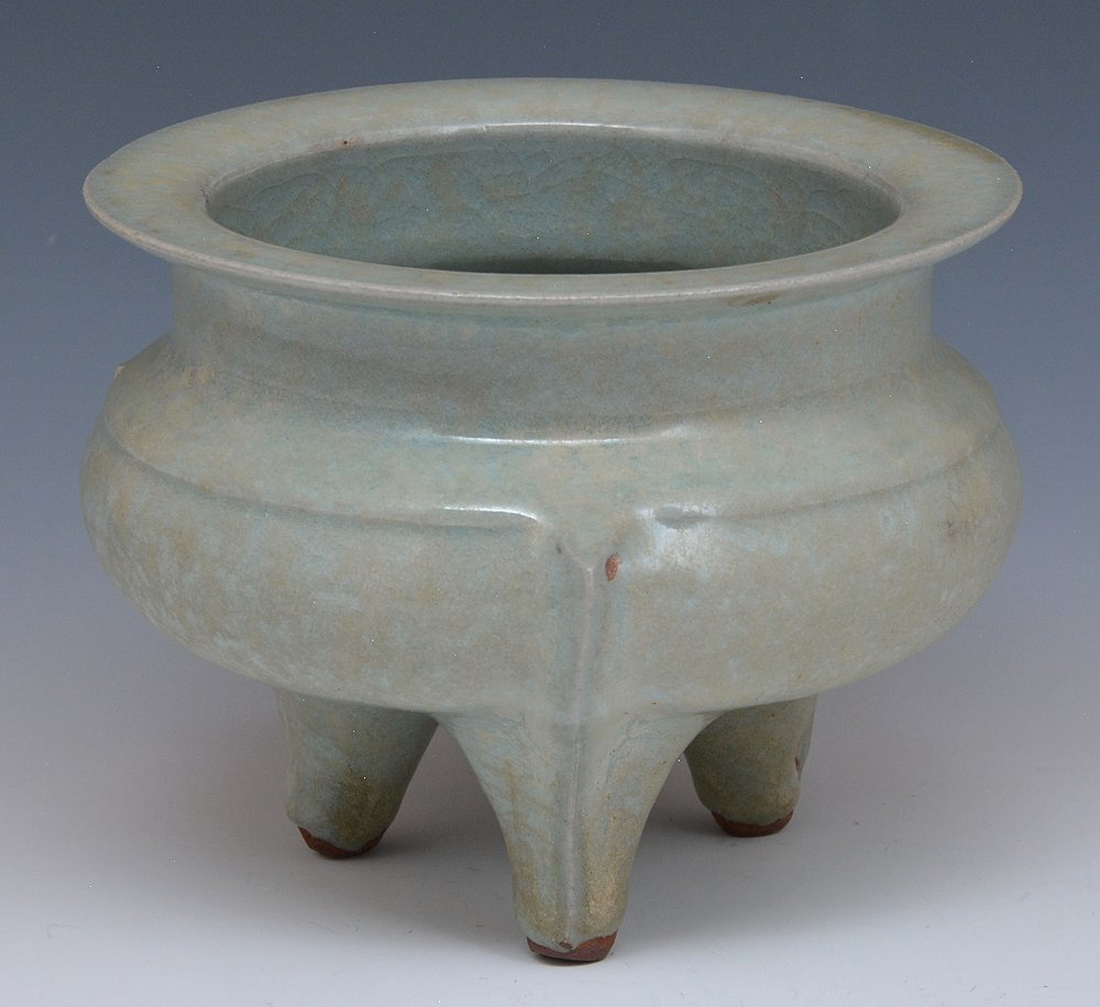 Chinese Crackle Tripod Censer - 2