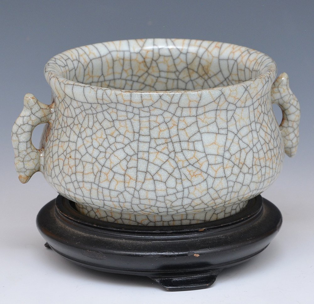 Chinese Crackle Glazed Censer - 2