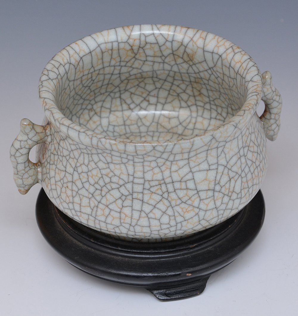 Chinese Crackle Glazed Censer - 3
