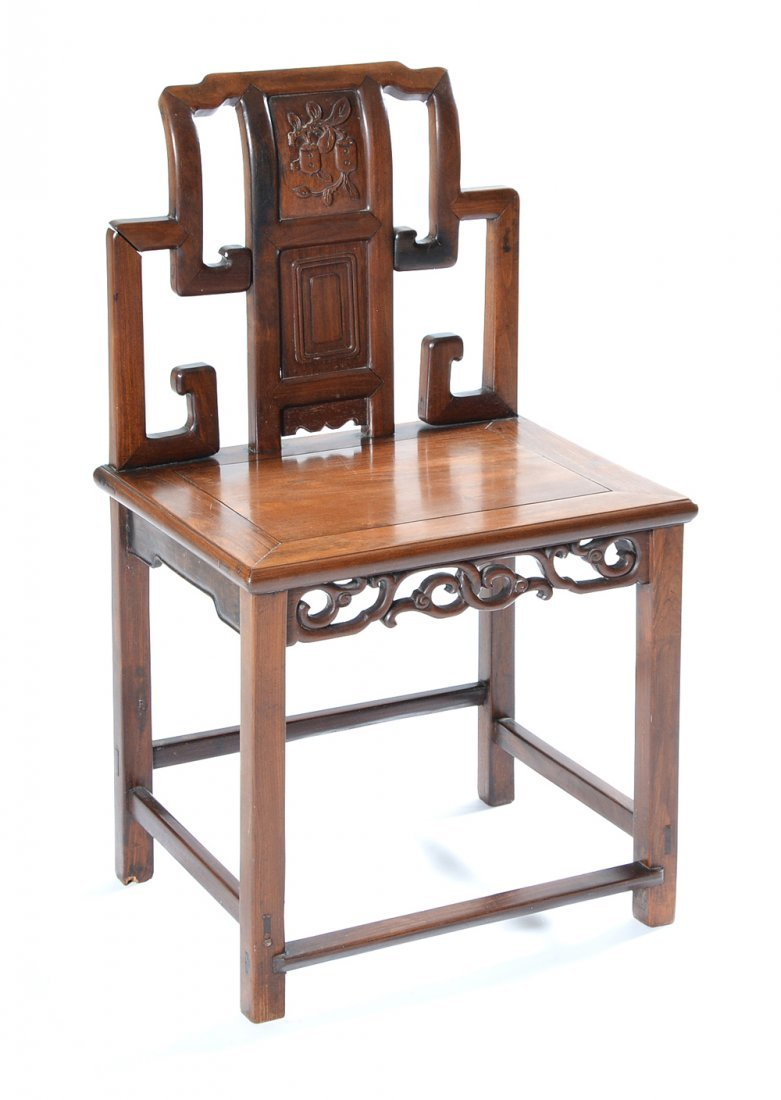 Chinese hardwood side chair with carved back