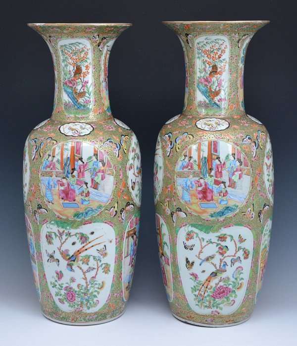 "Pair of Large Chinese Famille Rose Vases, 24.75""t"
