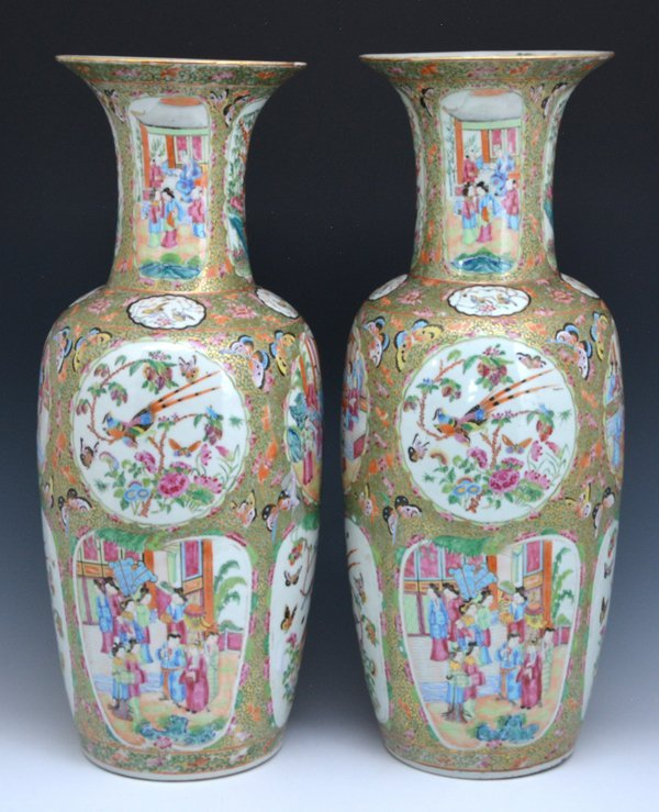 "Pair of Large Chinese Famille Rose Vases, 24.75""t - 2"