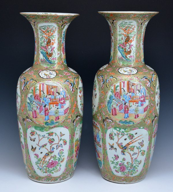 "Pair of Large Chinese Famille Rose Vases, 24.75""t - 3"