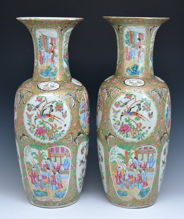 "Pair of Large Chinese Famille Rose Vases, 24.75""t - 4"