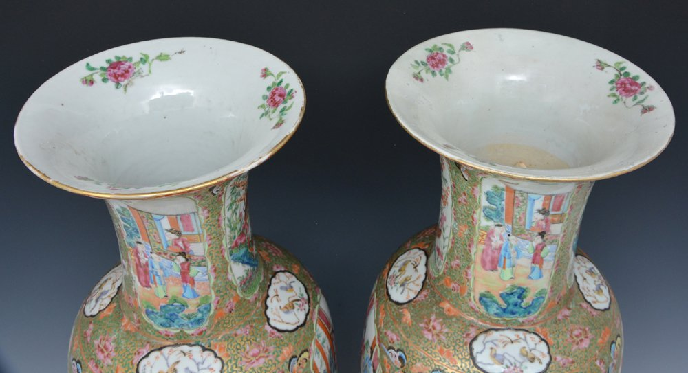 "Pair of Large Chinese Famille Rose Vases, 24.75""t - 7"