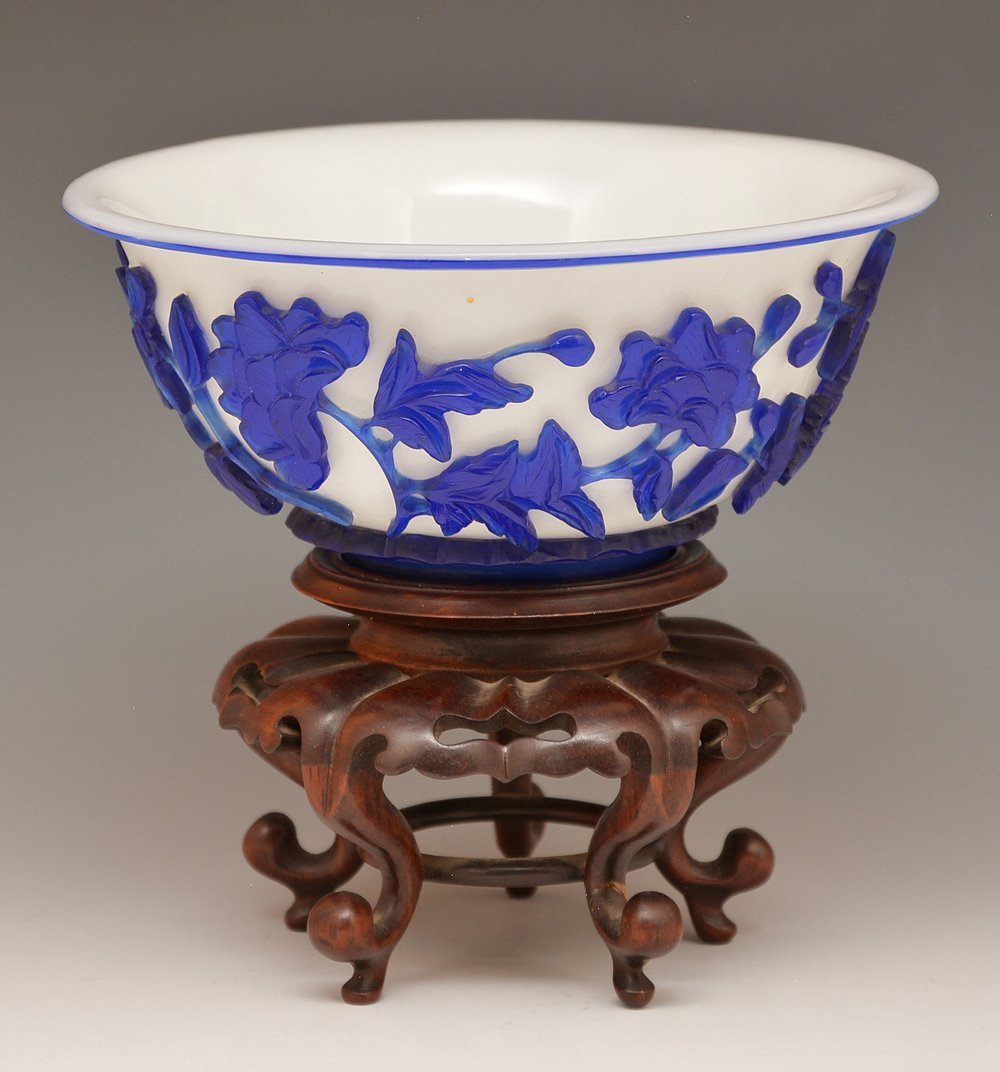 Chinese Peking glass bowl with stand