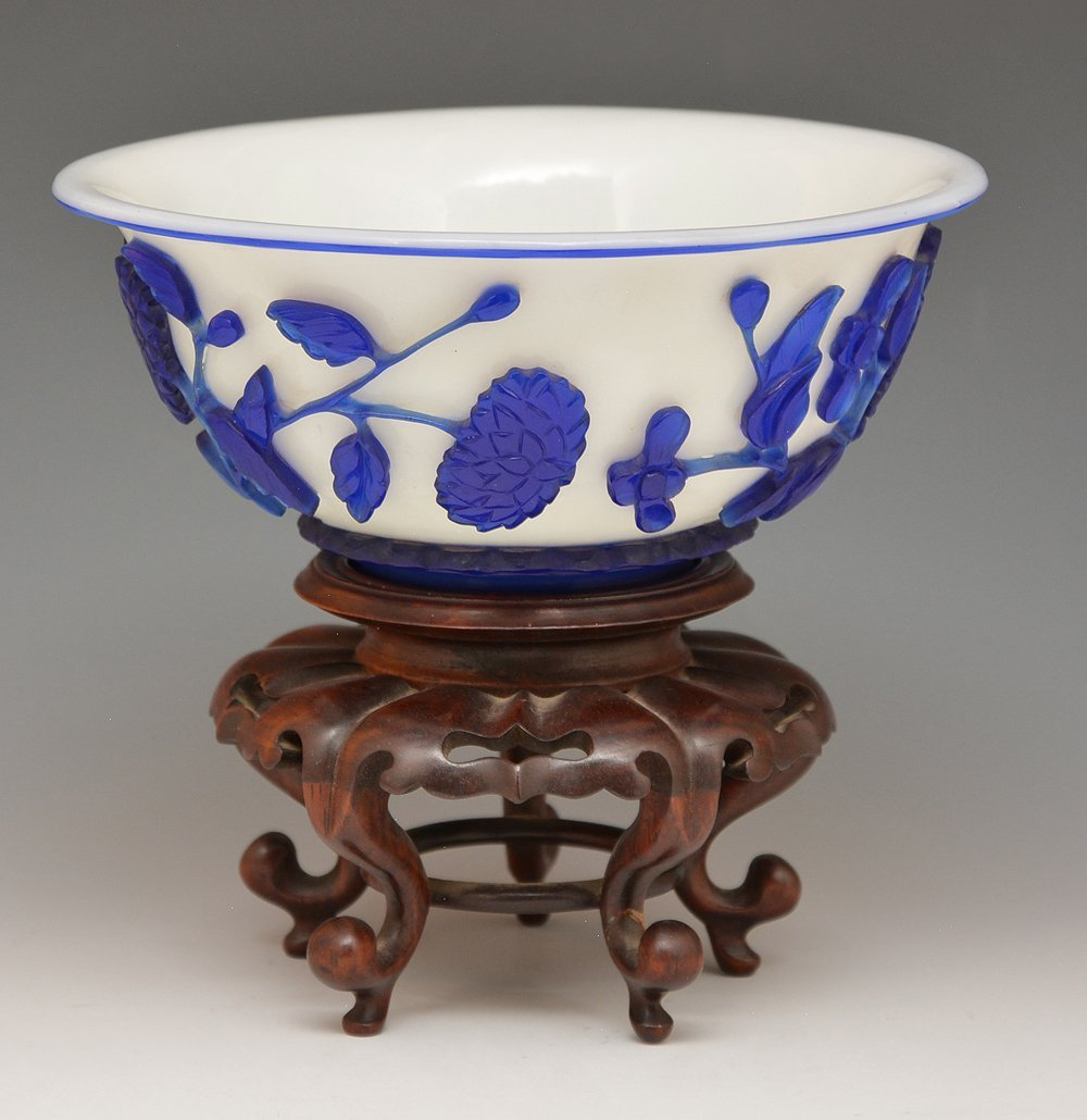 Chinese Peking glass bowl with stand - 2