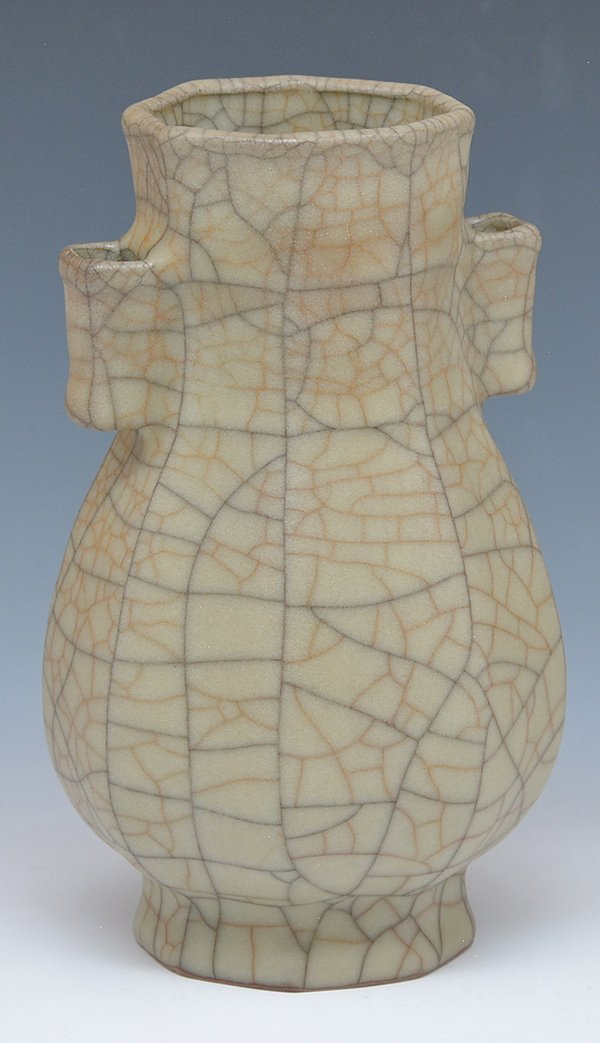Chinese octagonal crackled glaze vase - 2