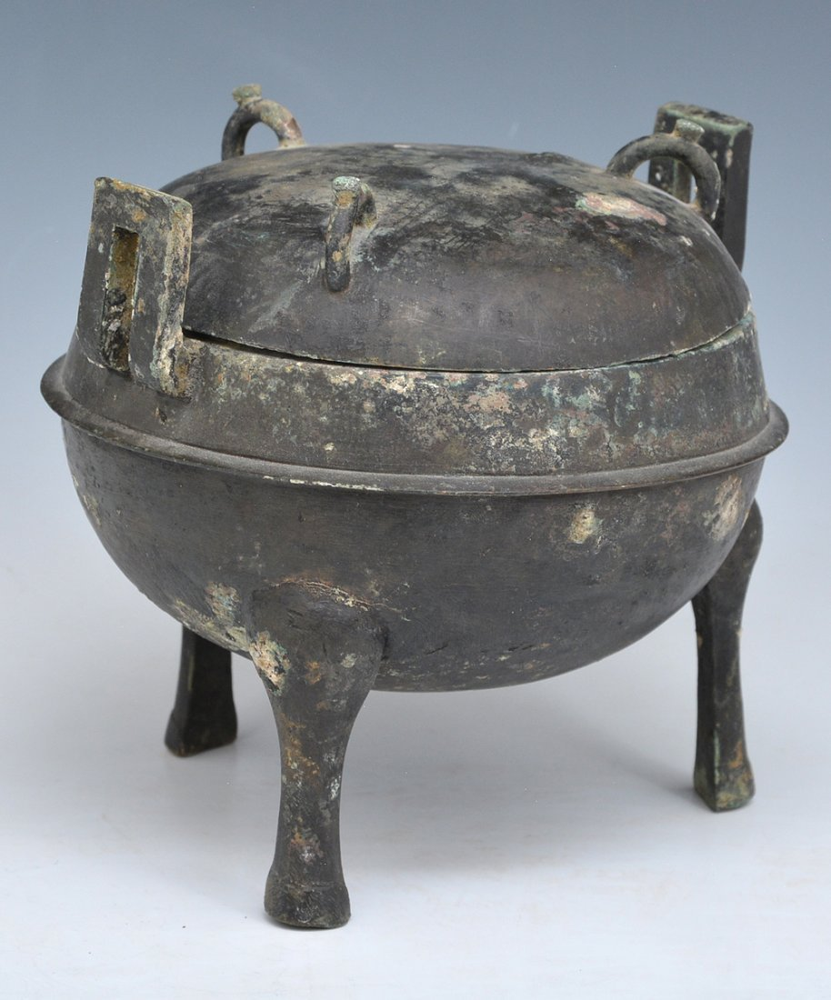 Chinese Archaic Bronze Ritual Ding Vessel With Lid - 2
