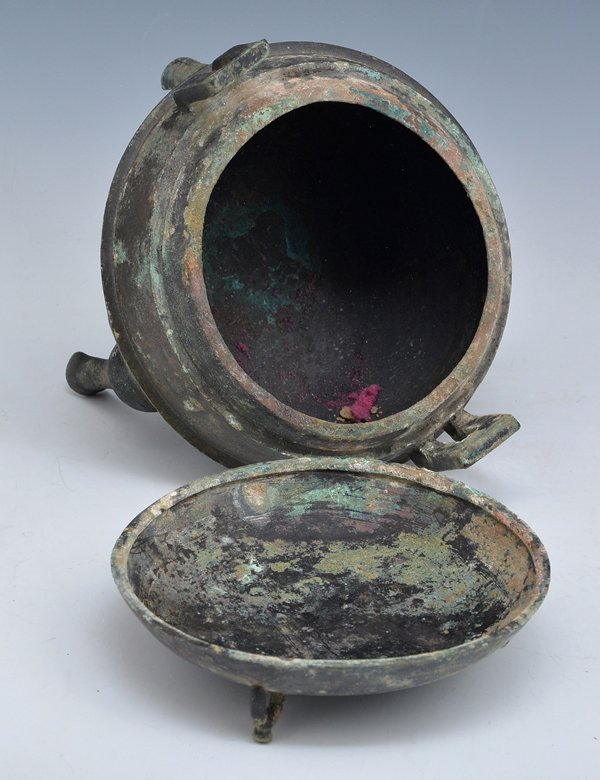 Chinese Archaic Bronze Ritual Ding Vessel With Lid - 4