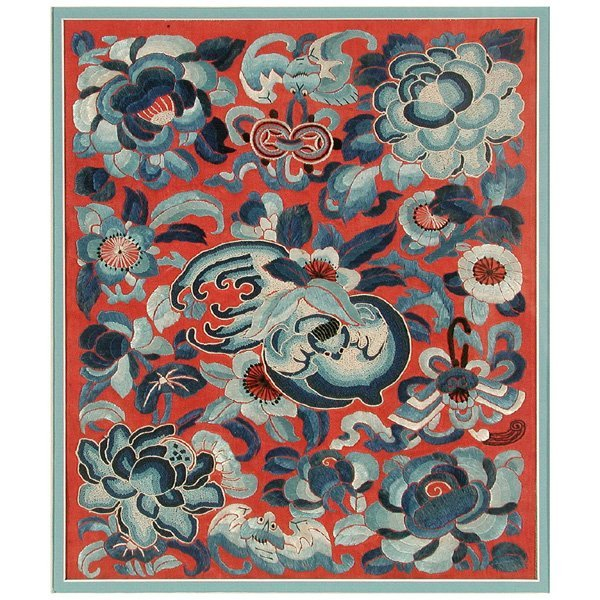 Chinese Silk Embroidered Textile with Bats, 19th c