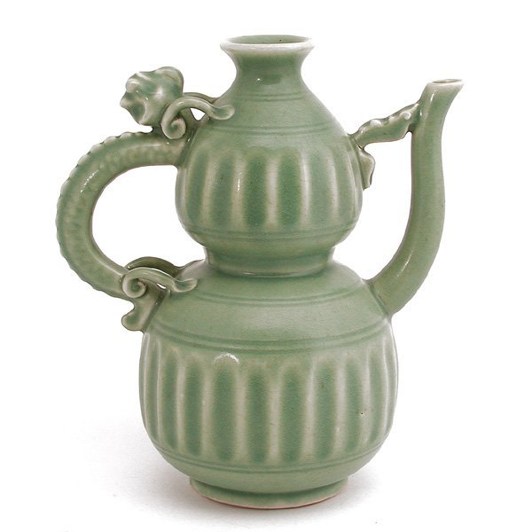 Chinese Celadon Double Gourd Pitcher