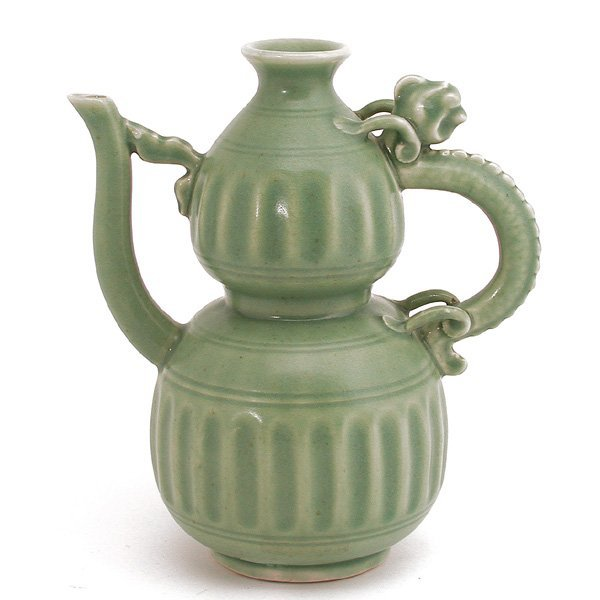 Chinese Celadon Double Gourd Pitcher - 2