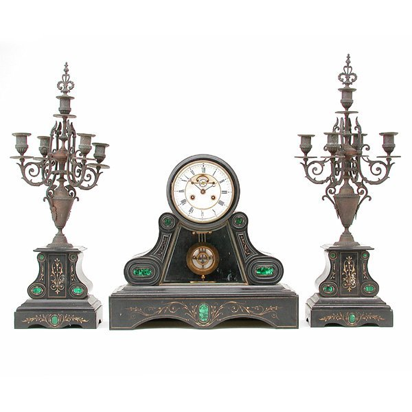 1: French, Detouche Slate Clock Set