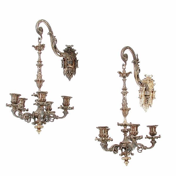 13: Calder 19th C Gilt Bronze Sconces