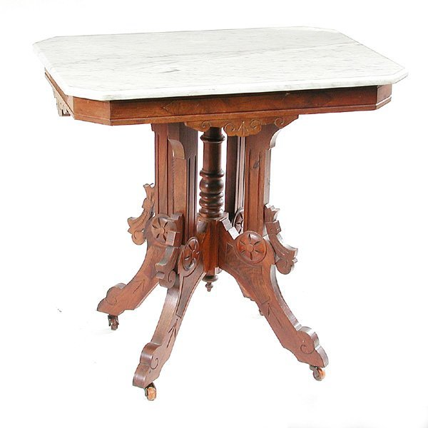 15: 19th. C Victorian Walnut Parlor Marble Top Table