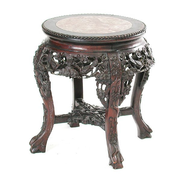 17: Chinese Marble Top Ebonized Table
