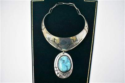 Turquoise & Sterling Corn Choker Necklace. Signed