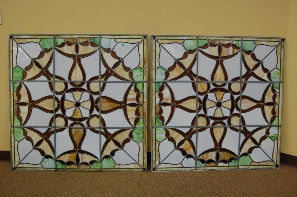 1: 2 MATCHING STAINED SLAG LEADED GLASS WINDOWS