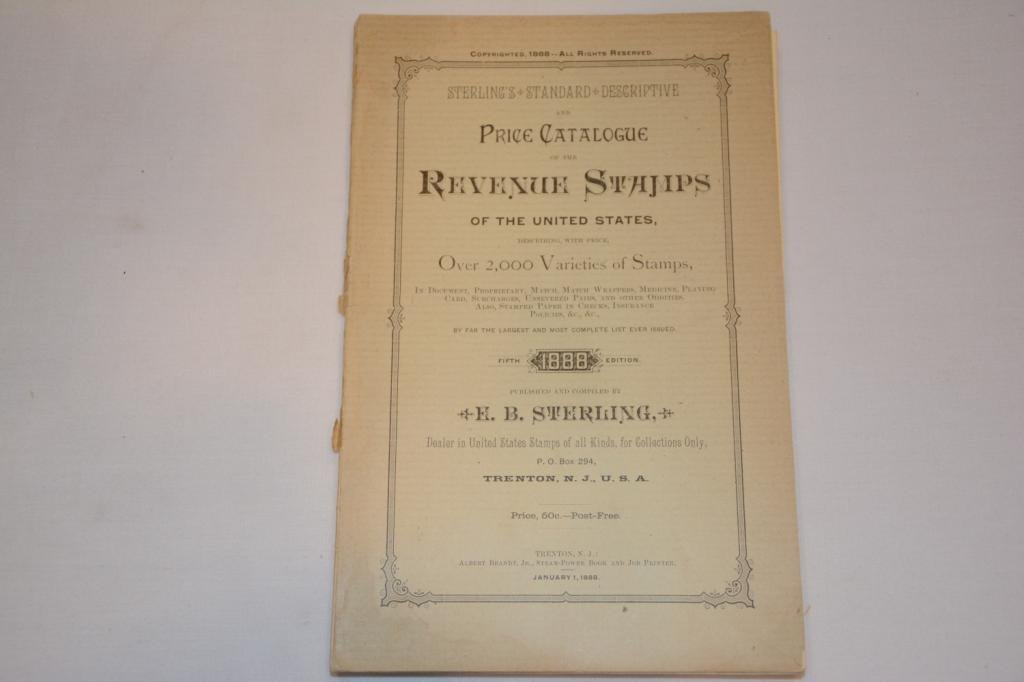 1888 Sterling's Catalogue of Revenue Stamps