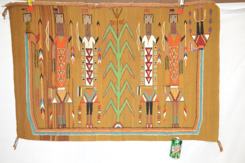 Native American Indian Navajo Woven Pictoral Rug