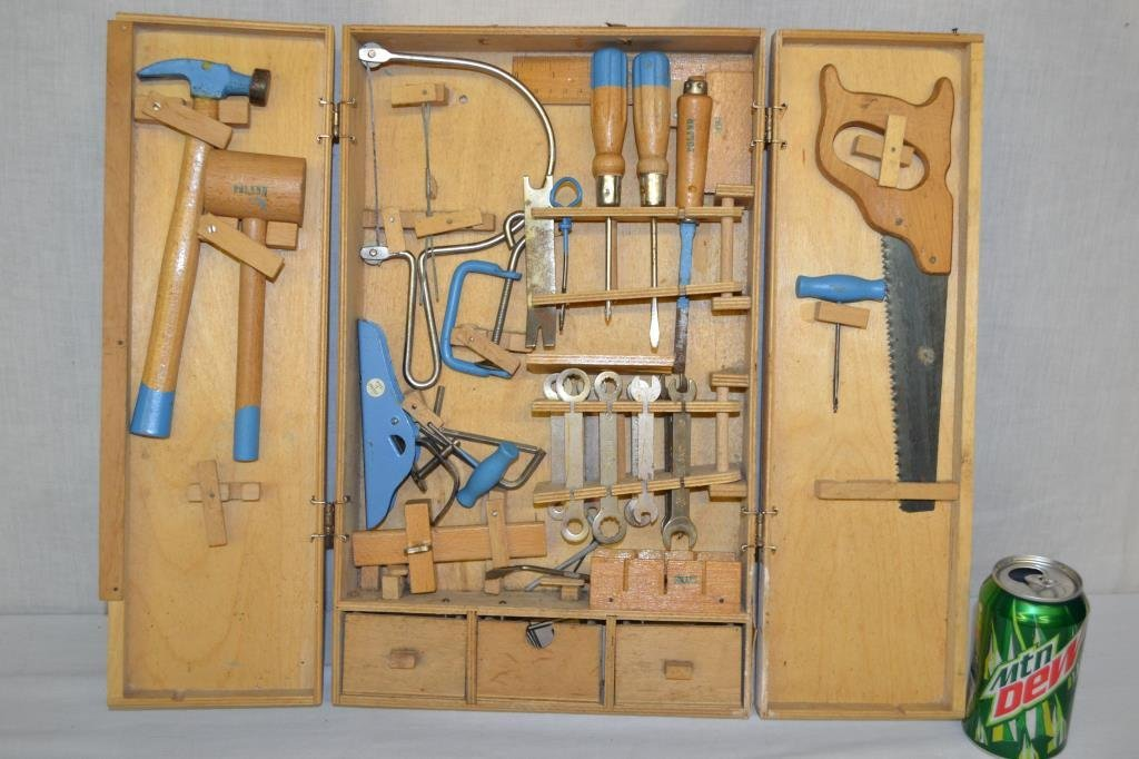 Childs Tool Set in Wood Case Marked Poland