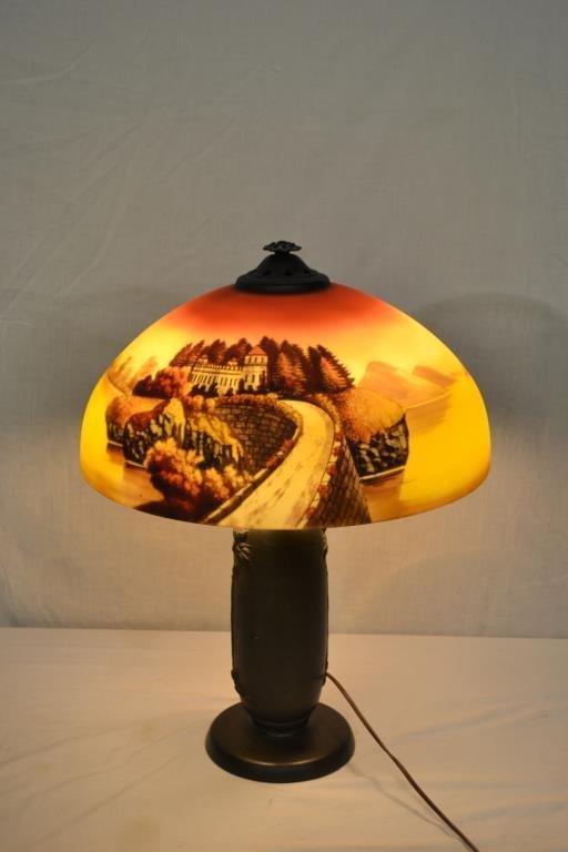 Phoenix Scenic Reverse Painted Lamp