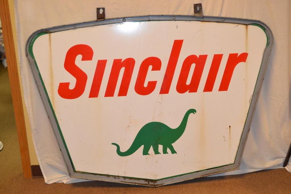 Large Sinclair Metal Sign with Dino