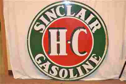 Sinclair H-C Gasoline Porcelain Double Sided Sign