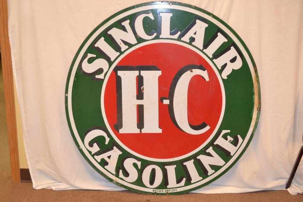 Sinclair H-C Gasoline Porcelain Double Sided Sign