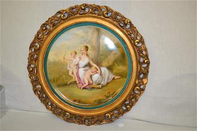 "Royal Vienna Hand Painted By Berger 14.5"" Plaque"