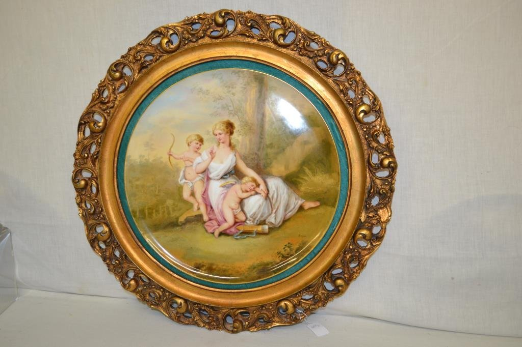 """Royal Vienna Hand Painted By Berger 14.5"""" Plaque"""
