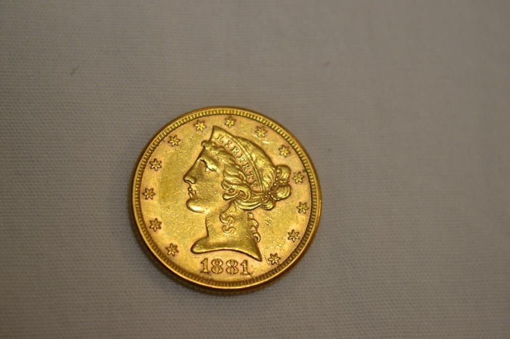 Coin. 1881 Liberty Head $5 Gold Coin