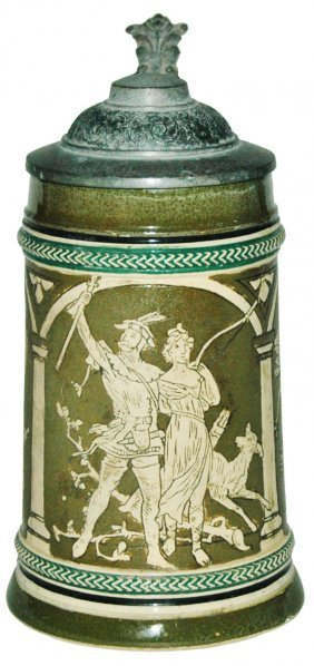Hunting Couple 1/4L Etched Gerz Stein