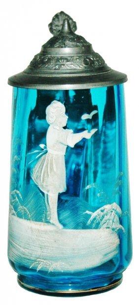 White Enamel Girl & Butterfly on Blue Glass Stein