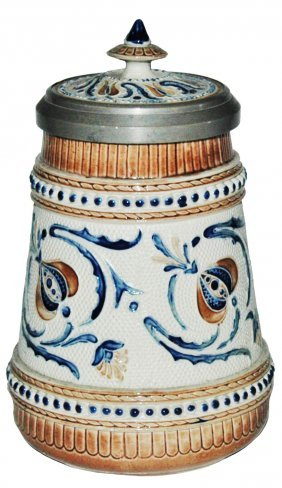 Mettlach 1/4L Mosaic Stein w/ Floral Inlay Lid