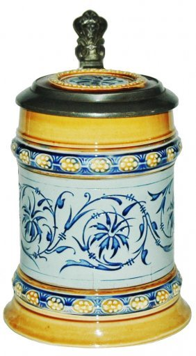 Mettlach Mosaic 1/4L Floral Stein with Inlay Lid