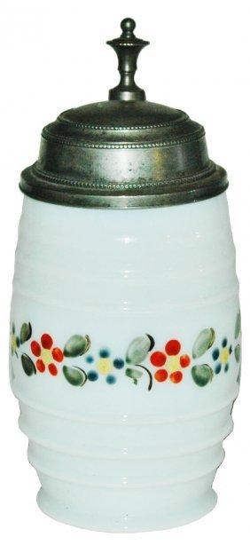 Blown Milk Glass Enamel Floral 1/4L Stein
