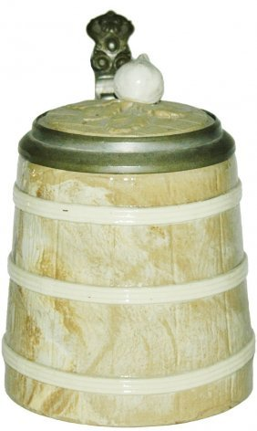 Mettlach Barrel 1/4L Stein w Inlay Lid