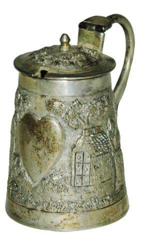 Silver Stein w Heart & Houses Cut in Lid for Spoon