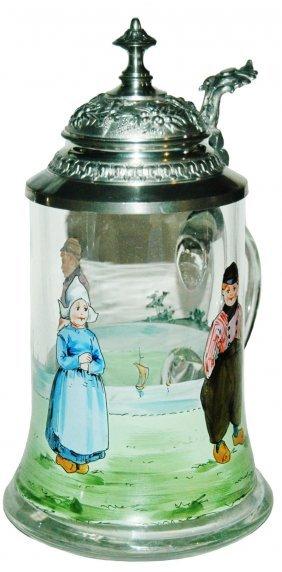 Blown Glass Stein w Enameled Dutch Children