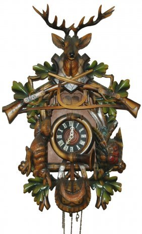 Carved Cuckoo Clock Stag Rabbits Rifles & Birds