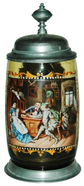 Enamel De Fragger Tavern Amber Glass Stein