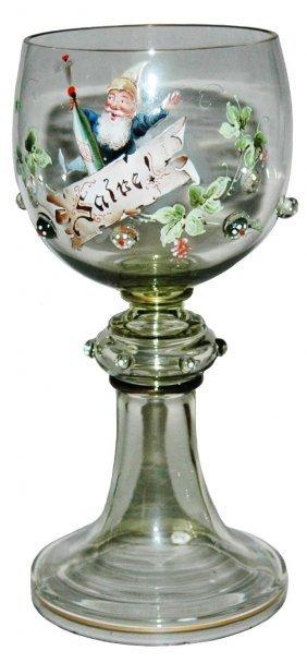 Dwarf w Champagne Bottle Glass Goblet