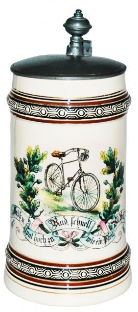Early Bicycle & Verse Pottery Stein